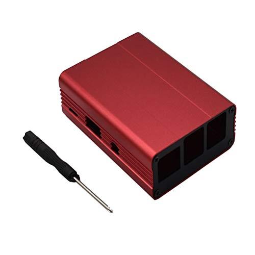Yardwe Carcasa Protectora de Caja de aleación de Aluminio con Protector para Destornillador para Raspberry Pi 3 / Pi 2 / Modelo B + (Rojo)