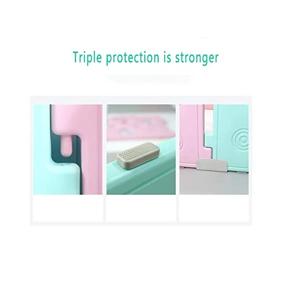 Foldable Baby Fence Plastic Baby Playpen Baby Safety Toddler Fences Indoor Toy Fencing Triple Protection Security Hardening Baby's Playground Suitable For Babies Over 6 Months  ▶ Multi-function: There are cute digital patterns on the bar, which can be used as a stand-alone game fence. The baby can not only play, but also learn and exercise cognitive ability. ▶Safe and secure: Heighten 65cm height, solid fence, prevent baby from turning out, HPDE environmental protection material, rotary switch single open design, prevent baby from opening from inside, safer ▶ Stable: 1cm thick anti-slip rubber pad, increase the friction with the ground, make the fence more firm, and there are card slots between the two plates to ensure that the fence does not shake 6