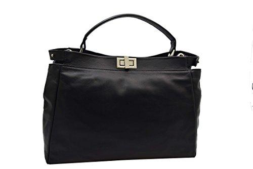 Handtasche Leder schwarz 138 (Hermes Handtasche Taschen)