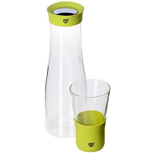 GRÄWE Glaskaraffe 1 Liter mit Trinkglas 0,3 Liter - Ausgießer aus Silikon, grün, Verschluss aus Edelstahl