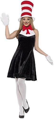 Damen Dr Seuss Katze im Hut Welttag des buches-Tage-Woche TV Film Schule Lehrer Spaß Kostüm Kleid Outfit - UK 8-10