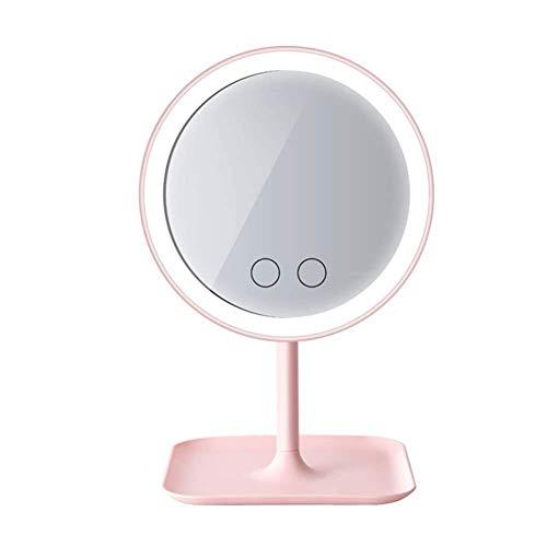 Espejo de Maquillaje con Luz LED Naturales y Aumento de 5x, Espejo Ventosa con 360 Rotación, 20 cm...