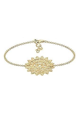 Elli Women Ornament Karma Sun Circle 925 Silver Gold Plated Bracelet