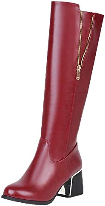 781b4d0081a Coolcept Women Fashion Block Heel Long Boots Boots Fashion Zip B07H29DXGB  Heel Parent 02ee973