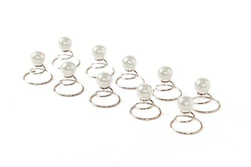 Lot de 10 épingles en spirale ornées de perles - accessoire pour cheveux/coiffure de mariée - 8 mm - blanc
