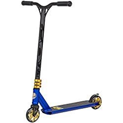 Star-Scooter Pro Sport Stunt Scooter Trottinette Freestyle Enfant de 8 Ans et Adulte ★ Patinette 110mm Aluminium pour Semi Professionnels ★ Bleu & Doré