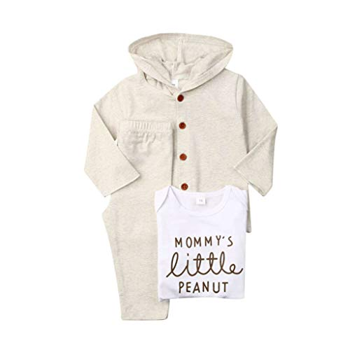 Säugling Baby Kinder Mädchen Jungen Brief Strampler + Cartoon Hosen + Mantel Outfits Sets (Leder Jacke Teddy Bär)