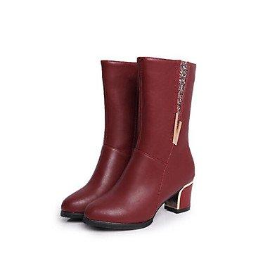 RTRY Scarpe Donna Pu Autunno Inverno La Moda Stivali Stivali Per Casual Black Burgundy US8.5 / EU39 / UK6.5 / CN40