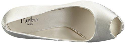 Menbur Wedding Aitana, Chaussures à talons avec plateau femme Blanc - Elfenbein (Ivory 04)