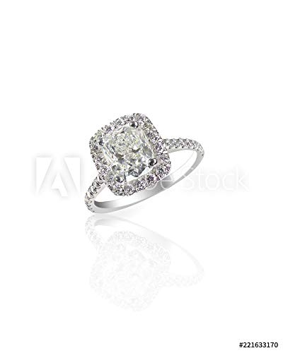 druck-shop24 Wunschmotiv: Huge Giant Cushion Cut Carat Sparkling Diamond Wedding Engagement Ring Isolated on White with a Reflection #221633170 - Bild als Foto-Poster - 3:2-60 x 40 cm / 40 x 60 cm