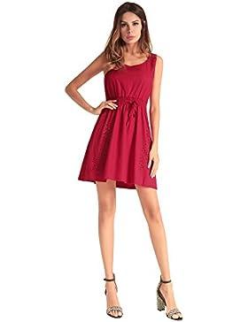 Moda Vestido | Vestido para mujer Las mujeres en Europa y América | cintura elástica de color puro vestido sin...