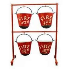 Fire Matics Fire Bucket Stand Having Hanging Capacity for 4 Buckets (Bucket Not Included)