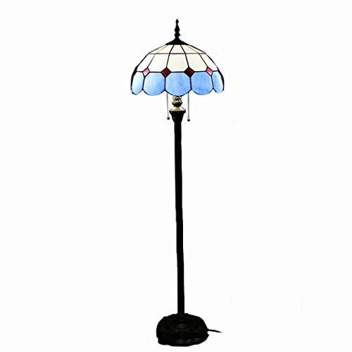 DSHBB Bodenbeleuchte, 16 Zoll Blaue Tiffany-Stehlampe mit Glaslampenschirm und Pull-Schalter, Standing Light for Living Rooms, Bar, Schlafzimmer, E27*2 40W -
