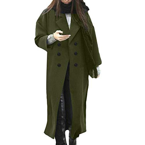 Hanomes Damen Mantel,Damen Winter Revers Wollmantel Mantel Mode Knopf Lange Jacket Einfarbig Warme Cozy ElegantMantel