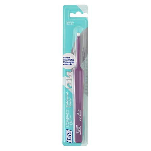 TePe Compact Tuft Einbüschelbürste / Zahnbürste mit rundem Bürstenkopf für eine gründliche Mundreinigung - auch bei Implantaten oder Prothesen, 1 x 1 Stück in Blau