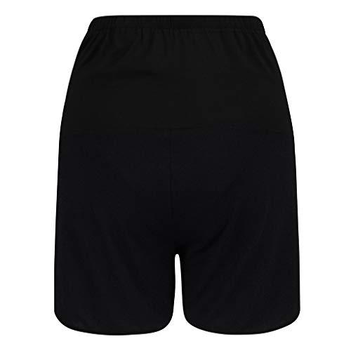 Mounter-Tops Schwangerschafts-Shorts, gestreift, lockere Passform, dehnbar, hohe Taille, verstellbare Pyjamahose Gr. Small, Schwarz (B) -