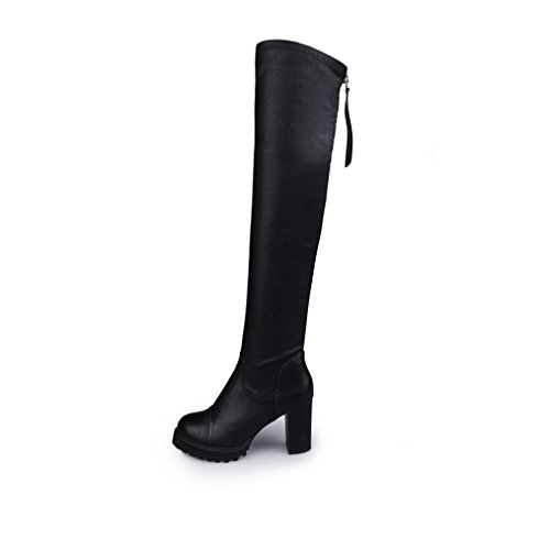 taottao Frauen Soft Leder Knie HIGH Oberschenkel Boots Stretch Slim Lang Stiefel Outdoor stylische Street Snap elastisch Stretch Dick High Heels shoes-elongate Ihr Bein, schwarz, 39 (Knie Boot Leder)