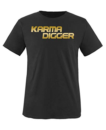 Comedy Shirts - Karma Digger - Mädchen T-Shirt - Schwarz/Gold Gr. 152-164 Damen Gold Digger