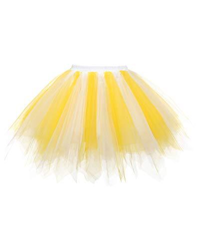 Timormode LXQC Tutu 50er Tüllrock Reifrock Kurz Tanzkleid Unterrock Blase Rockabilly Petticoat Ballett Gelb Weiß M