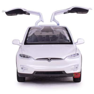 DishyKooker Tesla Auto-Modell mit Rückziehfunktion, elektronisches Spielzeug mit Simulationslichtern und Musikmodell, Auto-Spielzeug für Kinder, Geschenk weiß