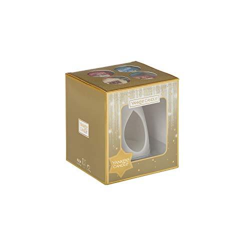 Yankee Candle-Geschenkset mit Schmelzwachsen und Melt Warmer aus weißem Keramik