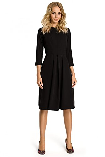 Clea Kleid mit Kellerfalten vorne , Farbe:Schwarz, Größe:38 (Kleid Kellerfalte)