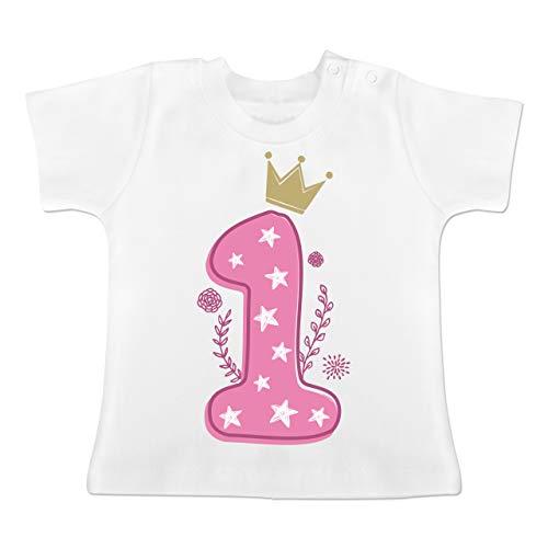 Mädchen Shirt Geburtstag (Geburtstag Baby - 1. Geburtstag Mädchen Krone Sterne - 12-18 Monate - Weiß - BZ02 - Baby T-Shirt Kurzarm)