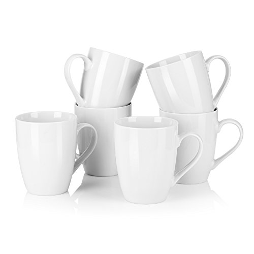 MALACASA, Serie Elisa, 6 teilig Becher Set Porzellan Kaffeebecher Kaffeetasse
