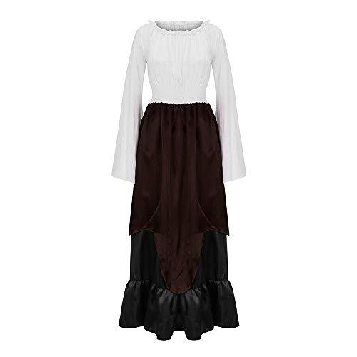 Lookhy Frauen Plus Größe Vintage Renaissance Langarm Farbe Block Lange Partykleid Renaissance Cosplay Kostüm Mittelalter Kleidung Damen Kleid
