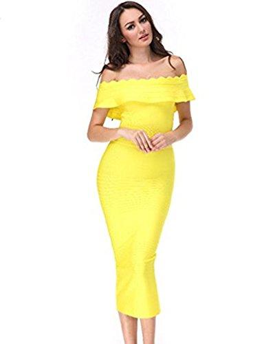 Whoinshop Damen Ausgestelltes weg von der Schulter Bodycon-Partei-Verband-Kleid mit Split (M, Gelb) (Schulter-verband-kleid)