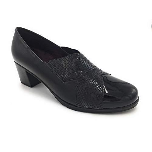 3fc73496f45 Pitillos - Pitillos 5243 Zapato elásticos tacón Medio Negro - 57538-39