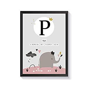 Personalisierte Geschenke für Baby Mädchen zur Geburt | mit Bilderrahmen | verschiedene Bilder zur Auswahl | A4 Kunstdruck Kinderzimmer