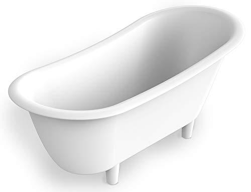 Bernstein Badshop Freistehende Badewanne PURE aus Mineralguss (Solid Stone) Standbadewanne in Weiß - 180 x 85 cm