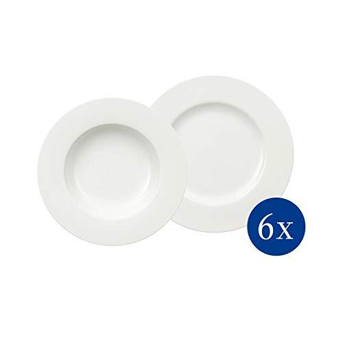 Villeroy & Boch Royal Tafelservice für bis zu 6 Personen, 12-teilig, Premium Bone Porzellan, Weiß -