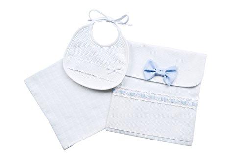 Filet - portacorredino bustina, bavaglino, salvietta i idea regalo i prodotto italiano i per neonati/prima infanzia - bianco, azzurro