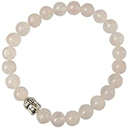 Aatm Reiki Energiezed Gift Natural Gemstone 7-8mm Round Beads Buddha Beaded Rose Quartz Crystal Gemstone Chakra Stretch Bracelet Unisex for Healing (Stone of love & Relationship)