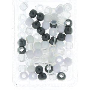 Set Perlen Weiß/Schwarz/Transparent Frisur Haar Zöpfe Dochte... mit Applikator