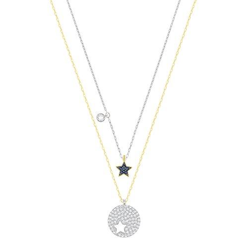 Swarovski set di pendenti crystal wishes star, azzurro, placcatura mista