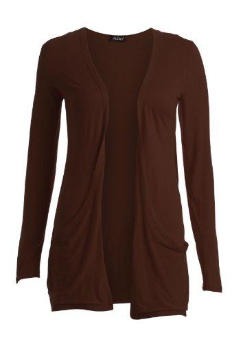 Fashion 4Less cardigan-pullover da donna a maniche lunghe, taglia forte Boyfriend, taglie SM-ML Cioccolato