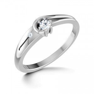 Chandrika Pearls Gems & Jewellers Silver real diamond ring with platinum polish