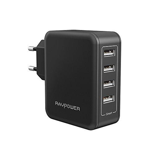 RAVPower Alimentatore USB Caricatore da Muro Portatile da 40W a 4 Porte USB iSmart 2.0, (5V/8A, 2.4A Max per Porta), Compatibile con iPhone 7 7Plus 6 6s, iPad, Huawei, Galaxy, HTC, LG, ECC - Nero