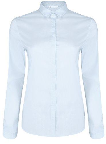 oodji Collection Damen Gerade Geschnittenes Hemd mit Verdecktem Verschluss Blau (7000N)