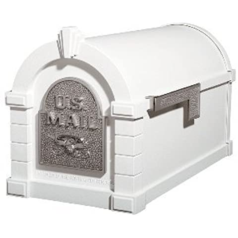 Gaines Original Series Keystone Mailbox In White And Satin Nickel by Gaines (Gaines Mailbox)