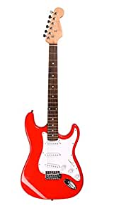 Juarez JRZ-ST02 6-String Electric Guitar, Right Handed, Red, with Case/Bag and Picks