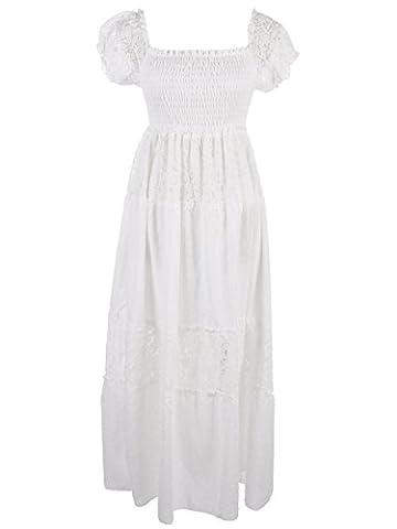 Anna-Kaci Frauen Boho Stretch Spitze Rüsche kurzarm Geschmückt Maxikleid lange Kleid