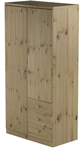Steens Ribe Kleiderschrank, 2 Türen und 3 Schublade, 101 x 202 x 59 cm (B/H/T), Kiefer massiv, natur lackiert
