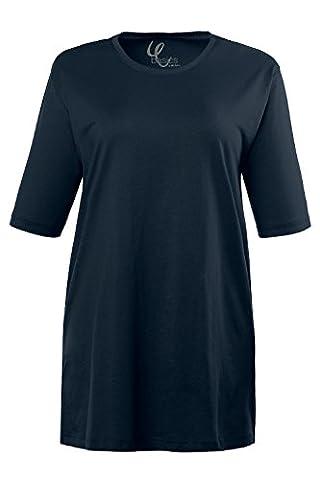 Ulla Popken Femme Grandes tailles t-shirt ample en coton - manches courtes - col rond - tee shirt top tunique haut décontracté sport yoga bleu marine 60/62 486910