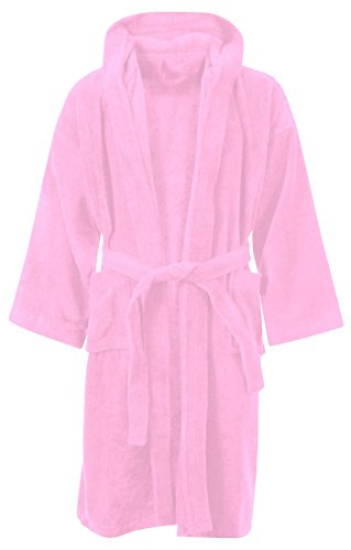 KIDS JUNGE MÄDCHEN BADEZIMMER 100% ÄGYPTISCHE BAUMWOLLE LUXUX VELOR TÜCHER KAPUZE KLEIDUNG GOWN SOFT FINE BEQUEME NIGHTWEAR TERRY TÜCHER BAD ROBE LOUNGE WEAR HOUSECOAT (8-10 Jahre, Rosa) (Kleidung 8 Crazy)