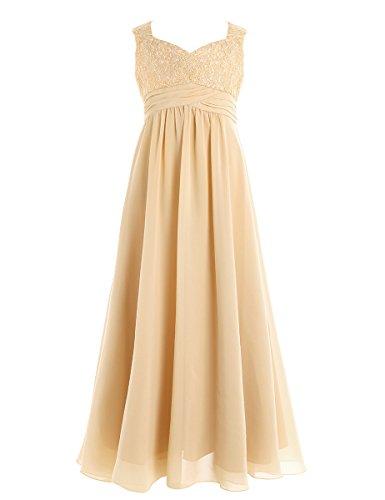 YiZYiF Mädchen Kinder Kleider Festlich Lang Brautjungfern Kleid Prinzessin Hochzeit Party Kleid Chiffon Festzug Gr. 104-164 Champagner 164 (Festzug-kleid-festzug-kleid)