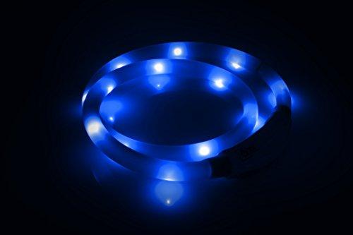 LED USB Halsband Silikon Hundehalsband Leuchthalsband für Hunde Haustier Katzen aufladbar per USB (Größe S-L auf 18-65 cm individuell kürzbar) in blau von der Marke PRECORN - 2